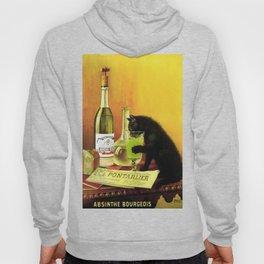 Black cat drinking Absinthe Hoody