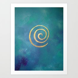 Infinity Bright Blue And Gold Abstract Modern Art Painting Art Print