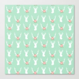 Deer antlers deer head silhouette cute modern minimal nature inspired nursery decor Canvas Print