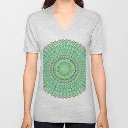 Pastel Green Doily Spiral Unisex V-Neck