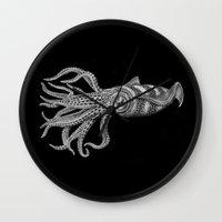 squid Wall Clocks featuring Squid by Tim Jeffs Art