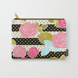 Fun Chic Roses & Black and White Stripes with Gold Dots Carry-All Pouch