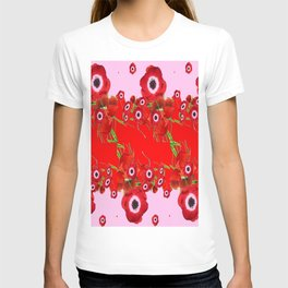 RED SPRING ANEMONE  GARDEN ABSTRACT FLORAL T-shirt
