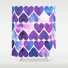 Mod Purple & Blue Grungy Hearts Design Shower Curtain