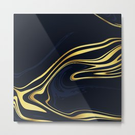 Blue And Gold Marble Metal Print