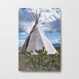 Cactus with Teepee Metal Print
