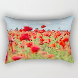 Field with red papavers Rectangular Pillow
