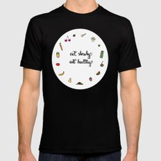 Eat slowly, eat healthy. A PSA for stressed creatives. Black Mens Fitted Tee MEDIUM