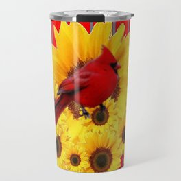 YELLOW SUNFLOWERS RED CARDINAL GREY  ART Travel Mug