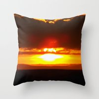 sunset Throw Pillows featuring Sunset by Aaron Carberry