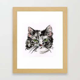 KITTY LOVE Grey kitty Framed Art Print