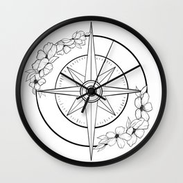 Hand-drawn Floral Nautical Compass Wall Clock