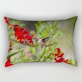Rufous Hummingbird Feeding, No. 2 Rectangular Pillow