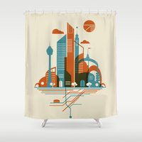 subway Shower Curtains featuring From the Subway to the Sky by Jay Fleck