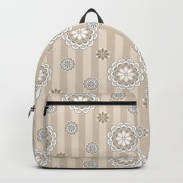 Mod Flowers and Stripes in Beige and Gray Backpack