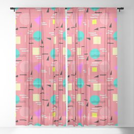 Memphis Forever - Coral Sheer Curtain