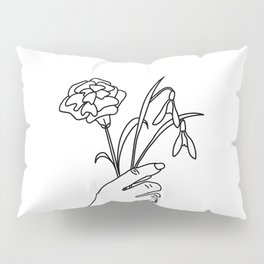 Carnation & Snowdrop Line Drawing (Birth Flower Series - January) Pillow Sham