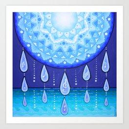 Blue Moonlight Sonata, Mandala artwork by Soozie Wray Art Print