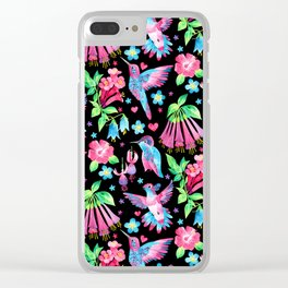Humming Bird Garden Black Clear iPhone Case