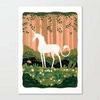 the last unicorn Canvas Prints featuring Unicorn by Joy Ang