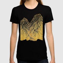 """遠望 series -""""Gold Valley"""" - Linocut T-shirt"""
