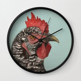 Plymouth Barred Rock Chicken Portrait Wall Clock