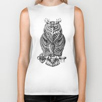 owl Biker Tanks featuring Great Horned Owl by BIOWORKZ