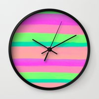 rave Wall Clocks featuring SUMMER'S RAVE by Rebecca Allen