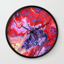 Red and Purple Cosmos Wall Clock