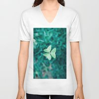 clover V-neck T-shirts featuring Clover by Felipe Flores