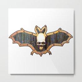 White Skull Halloween Bat Decoration In A Retro Style Metal Print