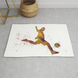 Soccer player in watercolor 10 Rug