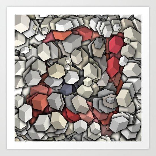 Chaotic 3D Cubes Art Print