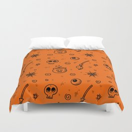 Halloween symbols seamless pattern Duvet Cover