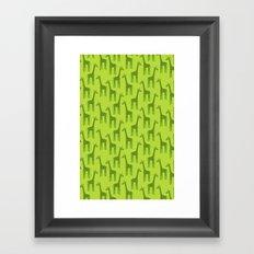 Giraffes-Green Framed Art Print