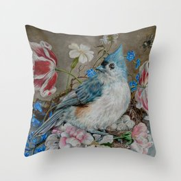 Blue Titmouse and Bee with floral still life Throw Pillow