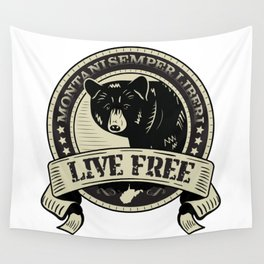 WV Black Bear Live Free T-Shirt Wall Tapestry