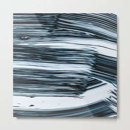 Abstract Chrome Silver Paint V Metal Print