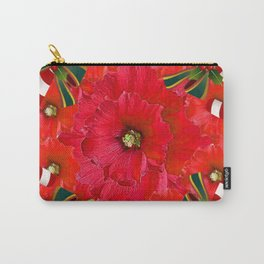 RED HOLIDAYS CANDY CANES & RED  FLOWER ABSTRACT Carry-All Pouch