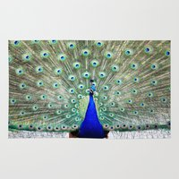 peacock Area & Throw Rugs featuring Peacock by Whimsy Romance & Fun
