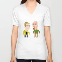 jesse pinkman V-neck T-shirts featuring Mr White & Jesse Pinkman by HypersVE