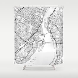 Montreal Map White Shower Curtain