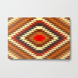 american native traditional ethnic costume motif seamless pattern Metal Print