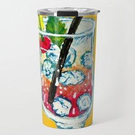 Watercolor Summer Cocktail Travel Mug