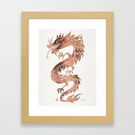 Chinese Dragon – Rose Gold Palette Framed Art Print