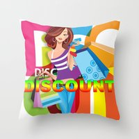 discount Throw Pillows featuring Creative Title : DISCOUNT by Don Kuing