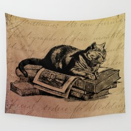Vintage Cat Collage-Grunge Background Wall Tapestry