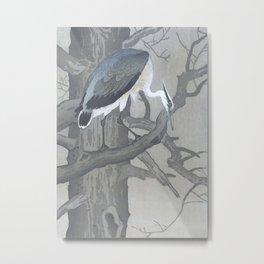 Blue Heron Sitting on a Tree - Traditional Japanese Woodblock Print Art Metal Print