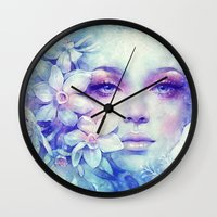 friday Wall Clocks featuring December by Anna Dittmann