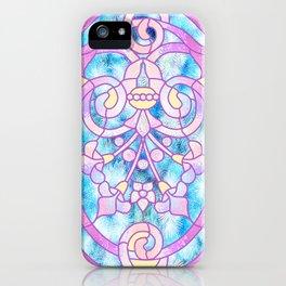 Art Nouveau Blue Pink and Yellow Batik Design iPhone Case